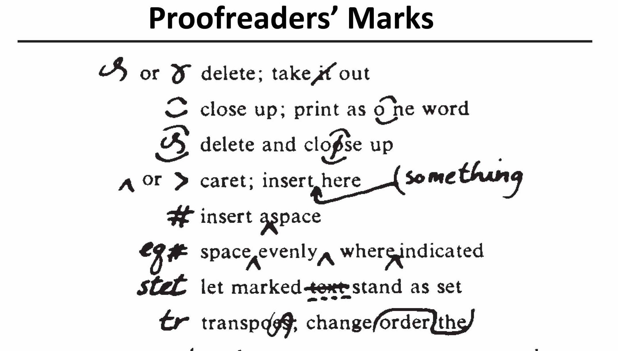 Proofreading and bsi mark ups network languages proofmarks biocorpaavc